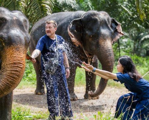 splash the water to an elephant, Krabi Elephant House Sanctuary